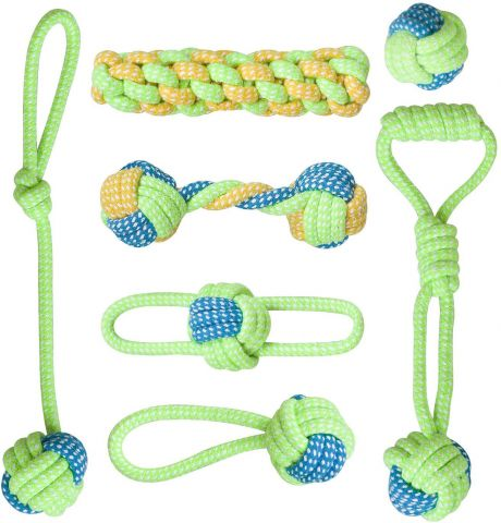 7Pcs Dog Rope Toys Braided Rope