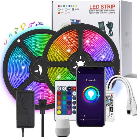 32.8ft Smart WiFi RGB LED Strip Lights