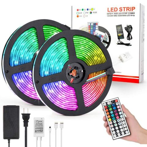 10M 5050 RGB LED Strip Light With Adapter